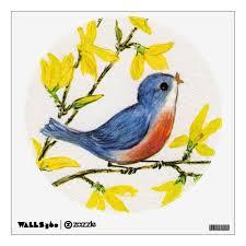 Cute Singing Blue Bird Tree Branch Wall Decal Zazzle Com