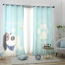 Printed Cartoon Dog Pale Sky Blue Curtains Kids Room