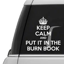 Keep Calm And Put It In The Burn Book Vinyl Wall Decal Car Sticker Walls2lifedecals