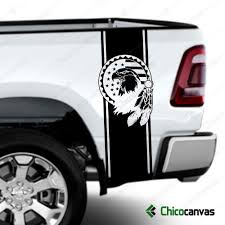American Flag Eagle Indian Rear Truck Bed Decal Racing Vinyl Stripes Sticker Kit Chicocanvas
