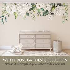 White Rose Garden Watercolor Roses Flowers Wall Decal Motomoms Decor