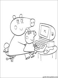 Kleurplaat Peppa En George Op De Computer Gratis Kleurplaten