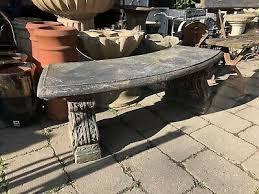 garden bench curved cast stone