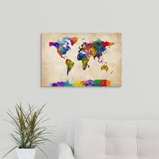 Greatbigcanvas Watercolor Map Of The World Map By Michael Tompsett Canvas Wall Art 2394834 24 24x16 The Home Depot