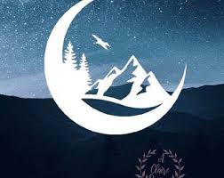 Mountain Moon Decal Etsy