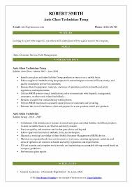 auto glass technician resume samples