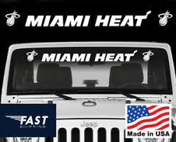 Nba Miami Heat Fits Windshield Decal Sticker Shorts Helmet Jersey Face Mask Ebay