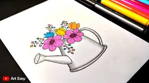 flower pot drawing and coloring very