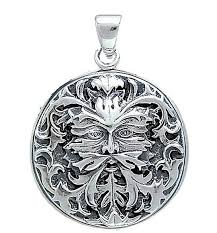 green man disc pendant in 925 sterling