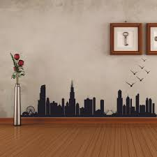 Chicago Skyline Silhouette Wall Decal Custom Vinyl Art Stickers 55 88cm X157 48cm Chicago Skyline Stickers Stickerscustom Wall Stickers Aliexpress