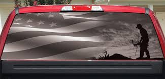 Rear Window Decals Bow Hunter And Flag Bw Let S Print Big