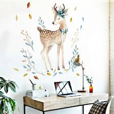 Watercolor Fawn Wall Sticker Deer Wall Decal Just Kidding Store
