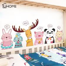 Kawaii Cartoon Animal Elk Panda Cat Bedside Wall Stickers For Kid S Room Creative Kindergarten Stickers Removable Baby Cot Decal Buy At The Price Of 8 76 In Aliexpress Com Imall Com