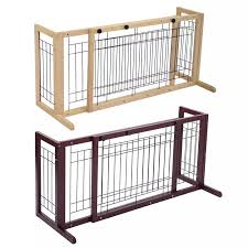 Pet Dog Wooden Fence Adjustable Indoor Solid Construction Free Standing Dogs Wood Gate Stair Pets Cats Slide Safety Fence Cw003 Houses Kennels Pens Aliexpress