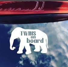 Twins On Board Baby On Board Decal Elephant Decal Mom Etsy