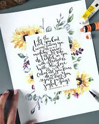 Scripture Wall Art Zephaniah 3 17 Watercolor Sunflower Etsy