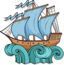 Amazon Com Simple Blue Sail Pirate Ship In Waves Cartoon Vinyl Sticker 4 Tall Automotive