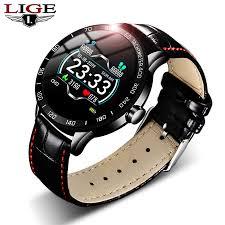 lige 2020 new leather smart watch men