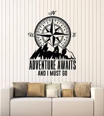 Vinyl Wall Decal Adventure Awaits Compass Inspiring Words Stickers Mur Wallstickers4you