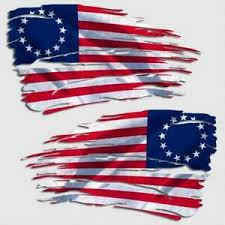 Betsy Ross Tattered American Flag Decal Usa Distressed 1776 Window 2 Decals Ebay