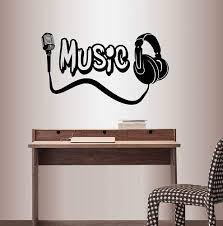 Amazon Com Wall Vinyl Decal Home Decor Art Sticker Music Word Microphone Headphones Bedroom Audio Studio Room Removable Stylish Mural Unique Design Home Kitchen