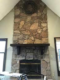 whitewash stone fireplace stone