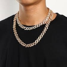 geometric square cuban chain necklace
