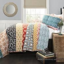 3 piece multi color bohemian quilt set