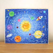 Art For Kids Out Of This World Solar System 14x11 Acrylic Canvas Boys Room Decor Nursery Art Space Theme Art Art For Kids Solar System Art Art Projects