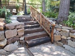 stone steps on the hill with wood