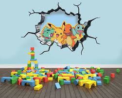 Pokemon Inspired Wall Art Sticker Decal 3d Style Smash Art Bedroom Wall Ebay Pokemon Room Boy Room Bedroom Wall Art