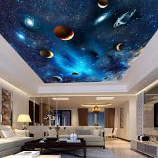 Universe Space Planet Night Sky Stars Photo Mural For Kids Bedroom Living Room Ceiling Wall Decor Non Woven Custom 3d Wallpaper Photo Murals 3d Wallpapercustom 3d Wallpaper Aliexpress