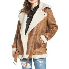 women waxed leather coat with fur