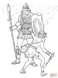 Disegno di Davide Combatte Golia da colorare