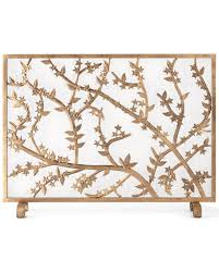 golden flowers and branches fireplace