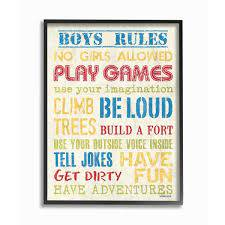The Kids Room By Stupell 16 In X 20 In Blue Yellow Red And Green Boys Rules By Debbie Dewitt Printed Framed Wall Art Brp 2211 Fr 16x20 The Home Depot