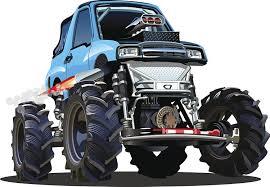 Amazon Com Large Manly Dangerous Monster Truck Cartoon Blue Car Vinyl Sticker 4 Wide Automotive