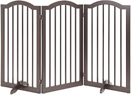 Unipaws Arched Top Tall Pet Gate Freestanding Stair Gate Indoor Foldable Dog Gate Safety Doorway Pet Barrier Espresso 20 Inches Wide 36 Inches High 3 Panels Amazon Ca Pet Supplies