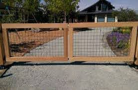 Wire And Wood Gate Click To Enlarge Driveway Gate Diy Wood Gate Wood Gates Driveway