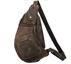 men chest pack leather sling bags