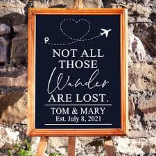 Chalkboard Decal Wedding Sign Not All Who Wander Are Lost Reception Sign Wedding Welcome Sign Adventure Begin Wedding Decor Love East Coast Vinyl Decals Llc