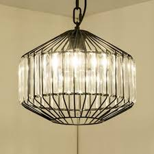 iron cage pendant lamp with clear