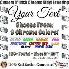 3 Custom Chrome Lettering Decal Sticker Vinyl Boat Registration Numbers Letters Ebay