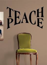 Teach Peace Quote Decal Sticker Wall Vinyl Decor Art Teach Peace Teachers Lounge Vinyl Decor