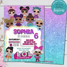 Invitacion De Cumpleanos De Lol Surprise Dolls Editable Descarga