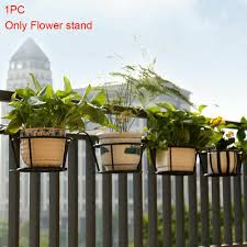 Taimot Hanging Flower Plant Pot Rack Stand Basket Box Holder Railing Planter Hanging Plant Iron Racks Balcony Round Flower Pot Rack Railing Fence Outdoor Patio Lawn Garden Gardening