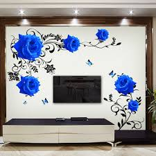Large Blue Rose Flowers Sofa Tv Background Wall Sticker Home Decoration Diy Bedroom Living Room Mural Art Decals Poster Stickers Wall Sticker Poster Stickersstickers Home Decor Aliexpress