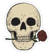Skull Biting Rose Sticker