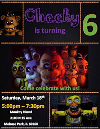 Fnaf Five Nights At Freddy S Invitation Fiesta Cumpleanos