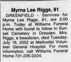 Obituary for Myrna Lee Riggs (Aged 81) - Newspapers.com